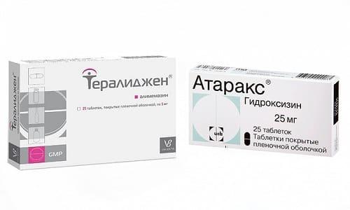При появлении симптомов тревожности, после перенесенных стрессов врачи могут прописать Тералиджен или Атаракс